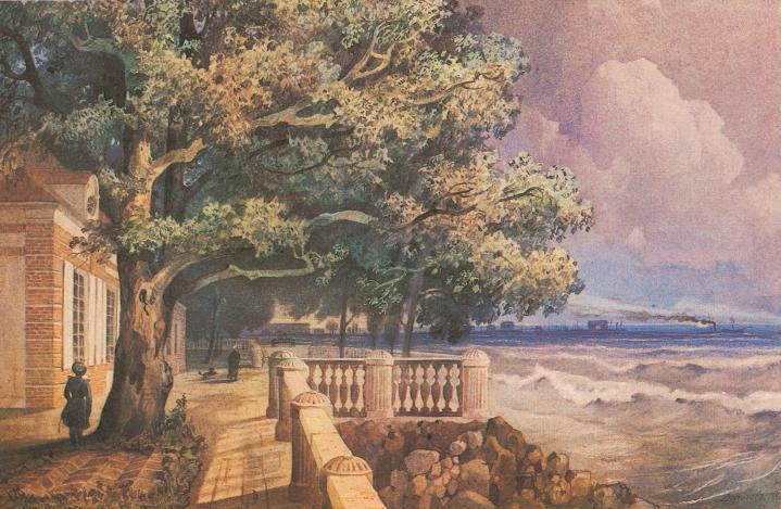 Терраса Монплезира в Петергофе. Акварель А. М. Дорогова.1847