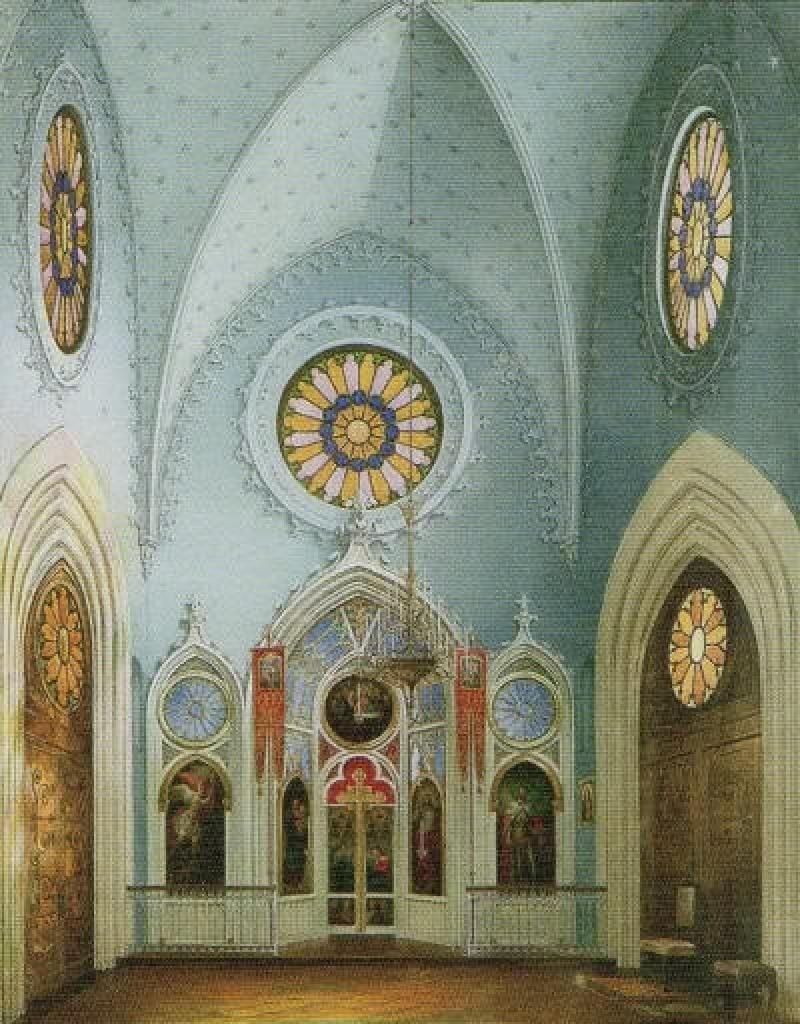 Гау Эдуард Петрович (1807-1887) «Готическая капелла в парке Александрия, внутренний вид капеллы». 1850-1860-е гг. Акварель