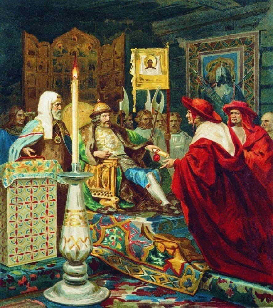 Семирадский Г. И. Александр Невский принимает папских легатов. 1876 г.