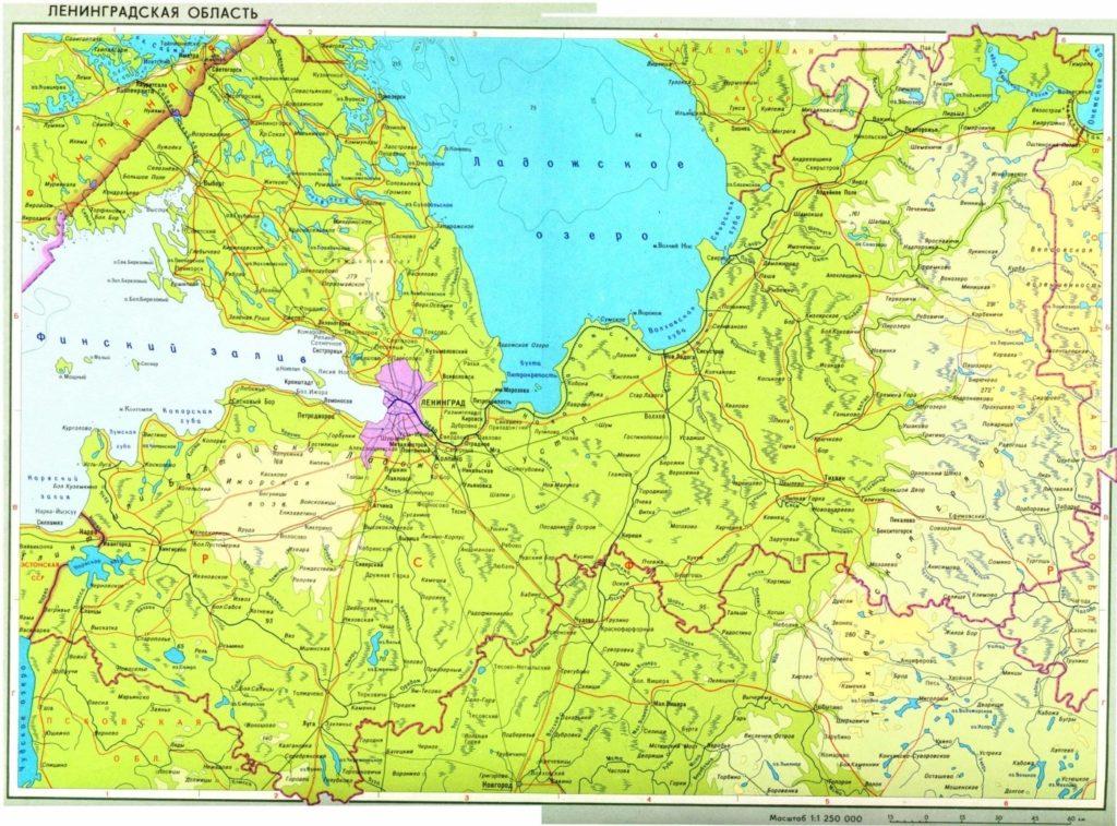 Карта Ленинградской области.