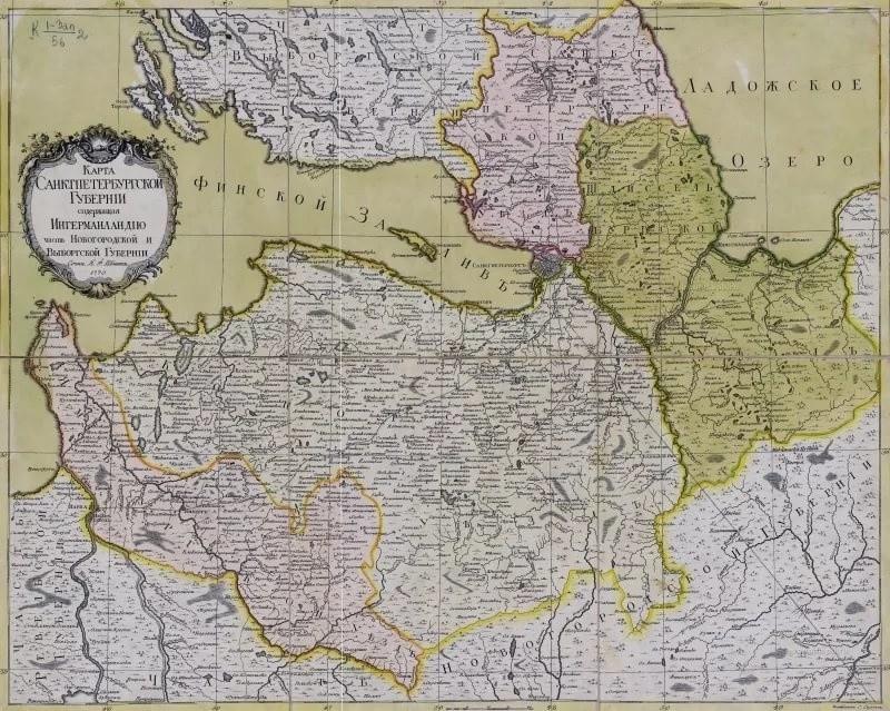 Карта СПБ губернии, содержащая Ингерманландию. 1770 г.