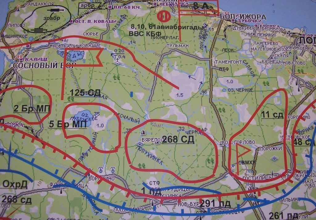 Карта Ораниенбаумского плацдарма.