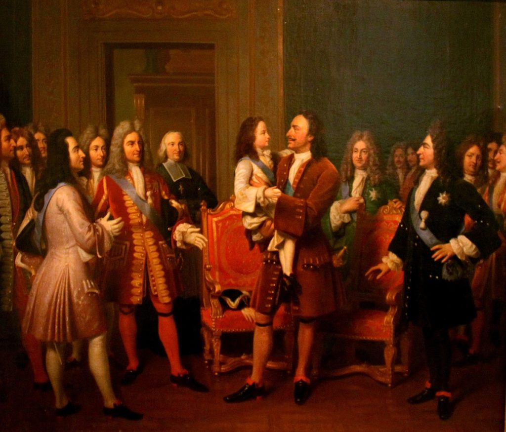 Луи Эрнан изобразил встречу Петра 1 и Людовика 15 в Версале