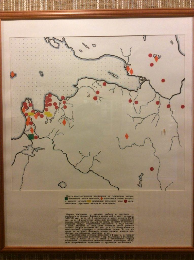 Карта археологических памятников Ижорской земли. Музей Ижорской культуры. Вистино