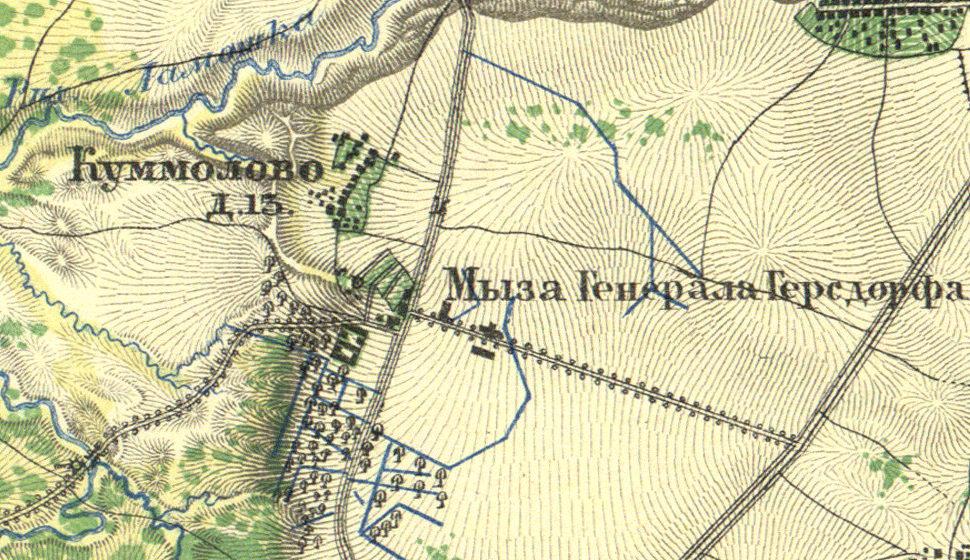 План деревни и мызы Куммолово. 1860 год