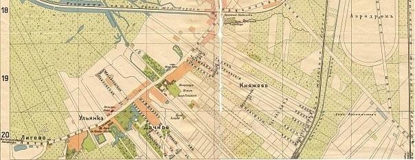 Поселок Дачное на карте Санкт-Петербурга 1913 года