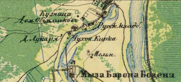 Большое куземкино на старинной карте.