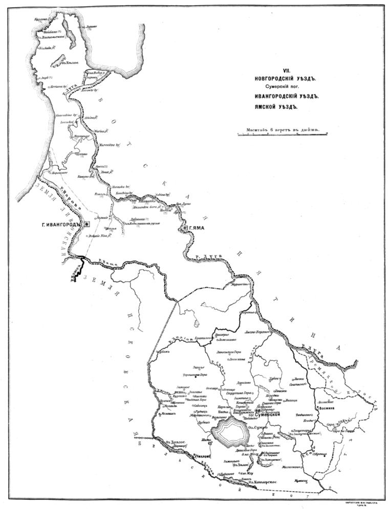 Карта погостов Шелонской пятины. Ямское Окологородье.