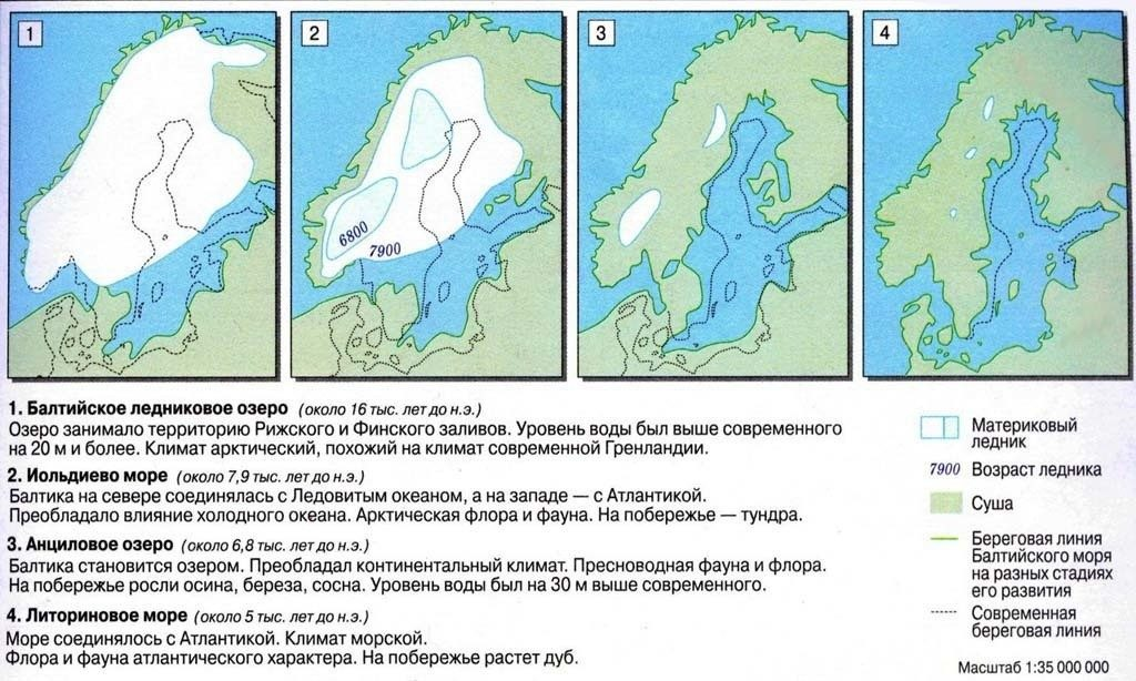 Схема отступления ледника на Балтике
