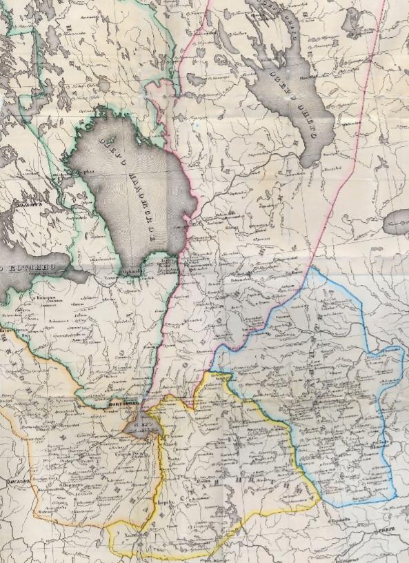 Карта Новгородских пятин. К. Неволин.