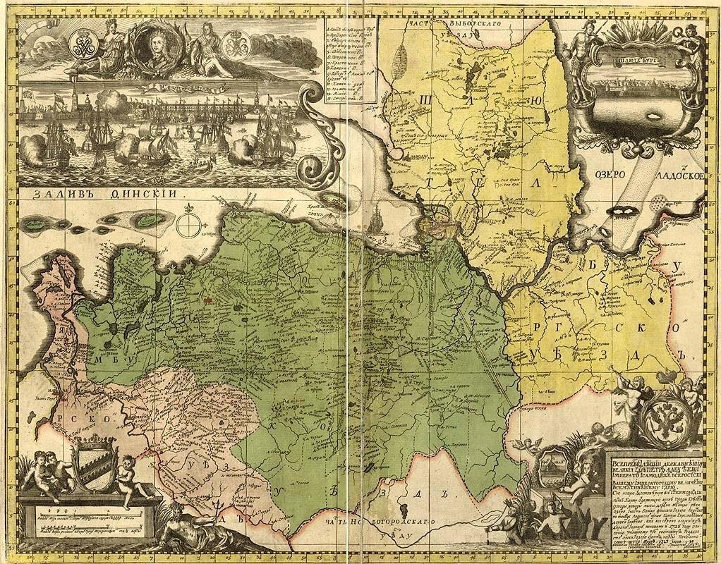 Карта Ингерманландской губернии Российской Империи. 1727 г.
