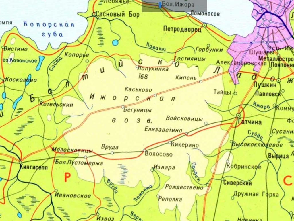 Ижорская возвышенность на карте Ленинградской области