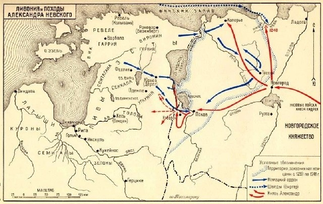 Карта походов Александра Невского.