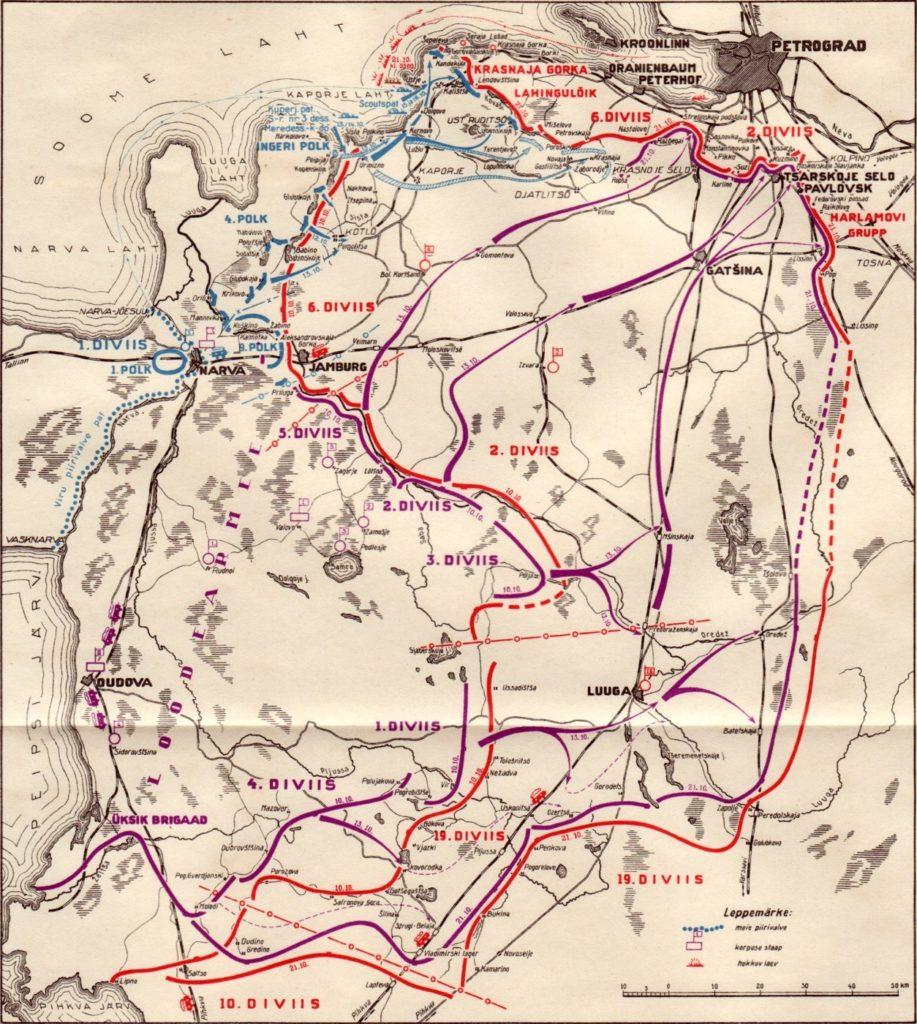 Схема наступления Северо-Западной армии (фиолетовый цвет) и частей эстонской армии (синий цвет) на Петроград в октябре 1919 года.