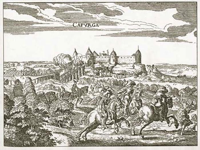Копорская крепость. Крепость в Копорье. Гравюра.