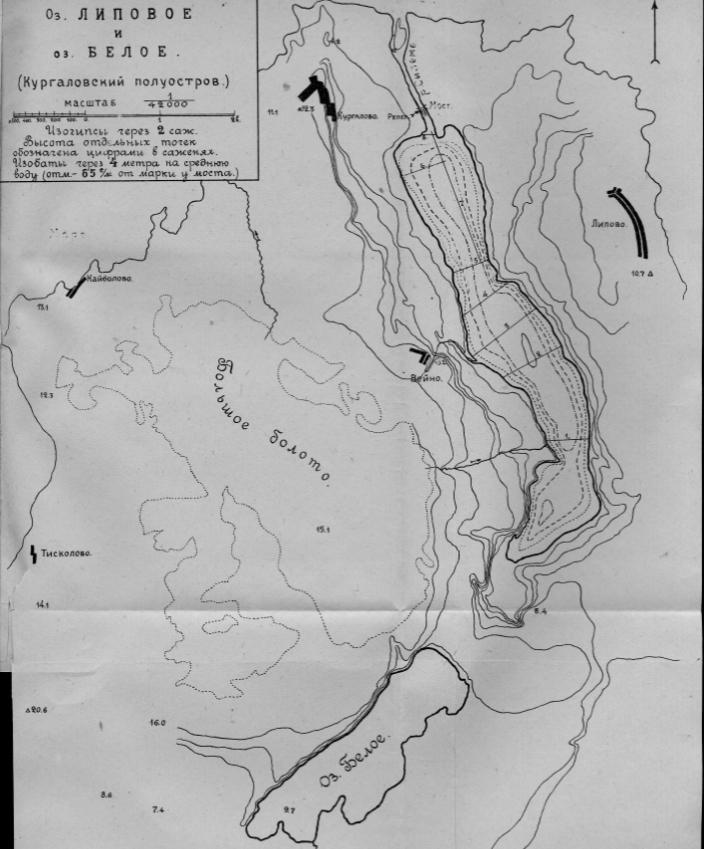 Карта озер Кургальского полуострова.