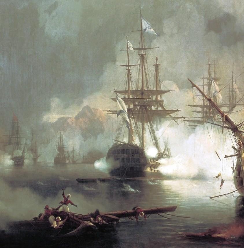 Корабль «Азов» на картине И. Айвазовского «Сражение при Наварине» (фрагмент, 1848)