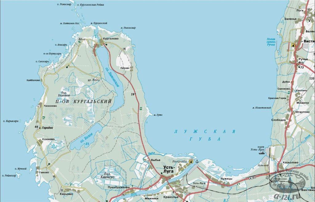 Кургальский полуостров и Лужская губа. Фрагмент карты Ленинградской области