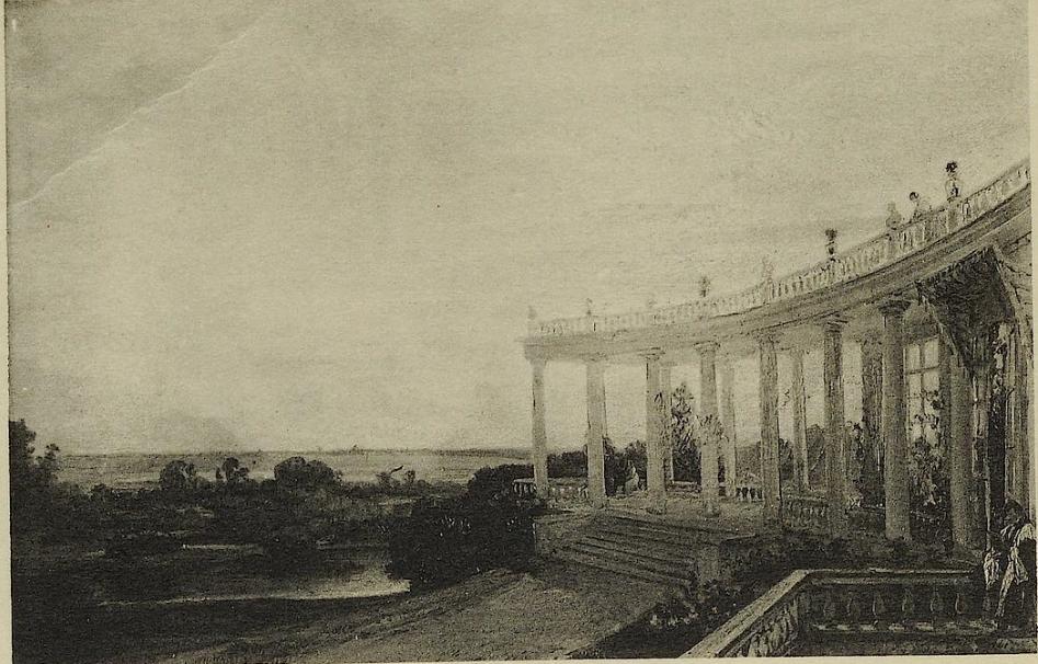фотография картины художника Годена. Колонналда в Павлино