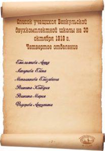Список учащихся Венкульской двухкомплектной школы.1918 г.