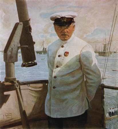 И. Бродский. К.Е. Ворошилов на линкоре Марат.1929