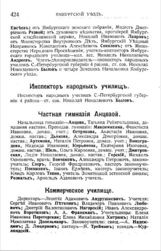 Краткие сведения о гимназии Анцевой. Памятная книжка С.-Петербургской губернии на 1914-1915 гг
