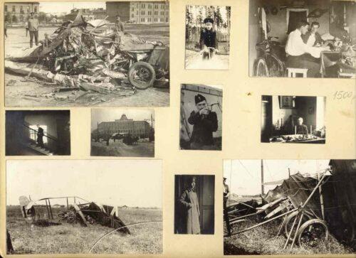 Фотографии обломков «Ньюпора IV» поручика Балабушки. Лист из фотоальбома неизвестного автора.